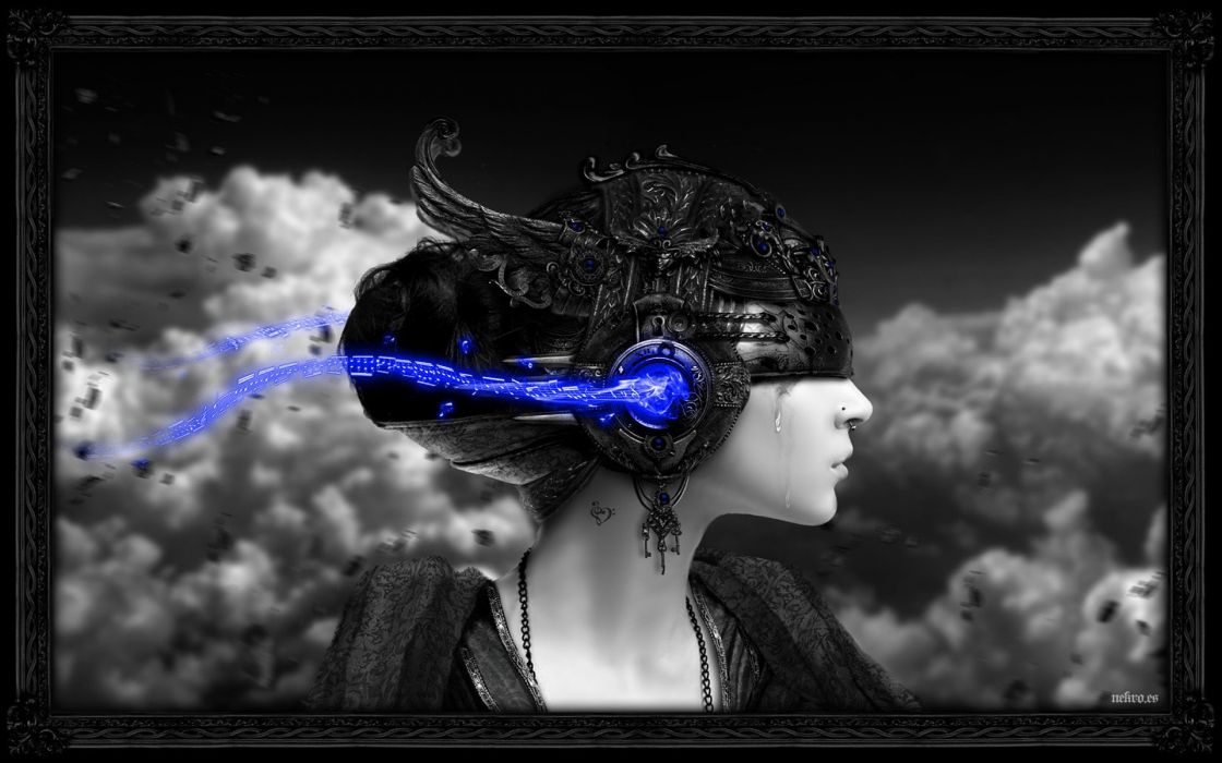 women black and white clouds crying blue light wallpaper