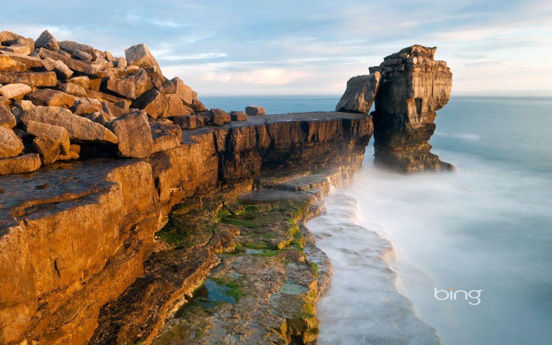 rocks shore oceans Bing wallpaper