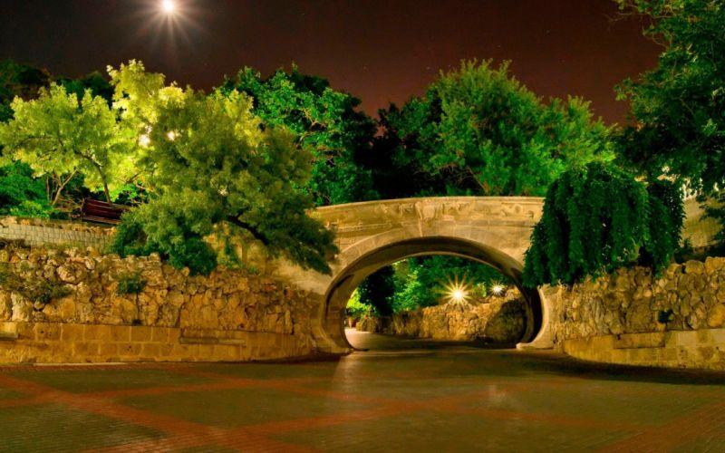 landscapes trees bridges wallpaper