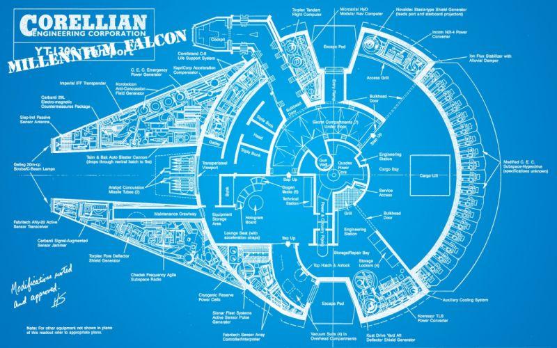 Star Wars blueprints Millennium Falcon wallpaper