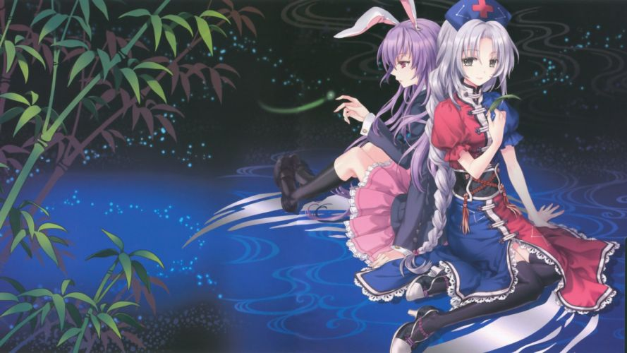 Touhou bunny girls animal ears Reisen Udongein Inaba Yagokoro Eirin wallpaper