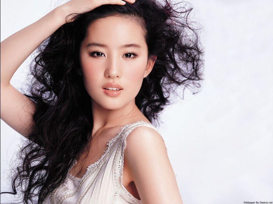 women long hair Chinese Asians curly hair white dress white background Liu Yifei wallpaper