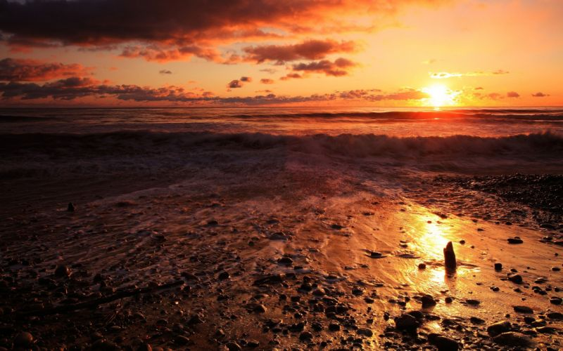sunset landscapes nature beaches wallpaper
