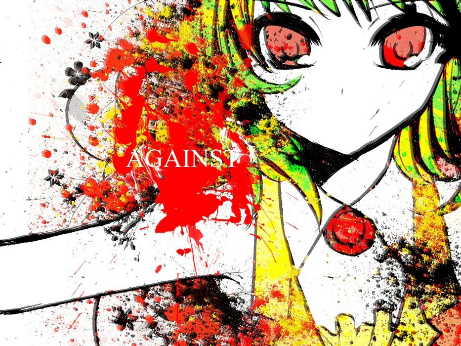 women music Vocaloid text red eyes short hair green hair Megpoid Gumi color splash anime girls faces spread arms bangs bare shoulders wallpaper