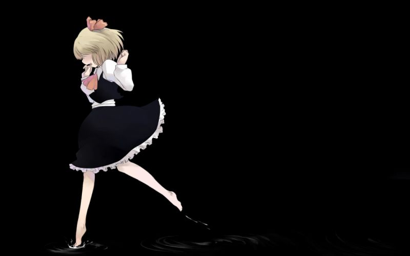 blondes water video games Touhou black dark school uniforms schoolgirls skirts barefoot short hair blush bows water drops open mouth running Rumia simple background anime girls black background hair ornaments arms raised bangs wallpaper