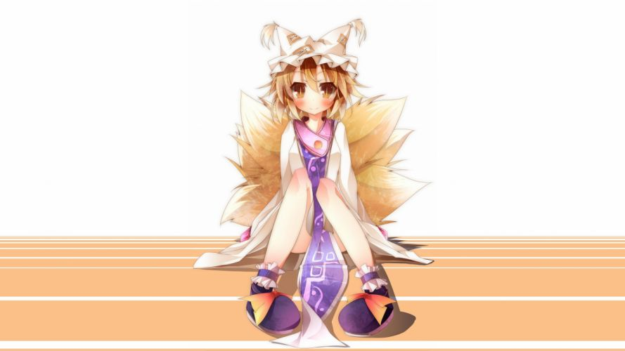 blondes tails Touhou dress brown eyes short hair blush Yakumo Ran orange eyes hats Photoshop fox girls anime girls wallpaper