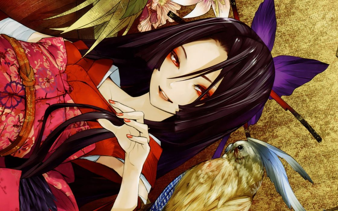 brunettes flowers birds animals long hair red eyes smiling traditional dressing bandages Redjuice Japanese clothes anime girls detached sleeves Kaorihime hair ornaments butterflies original characters wallpaper