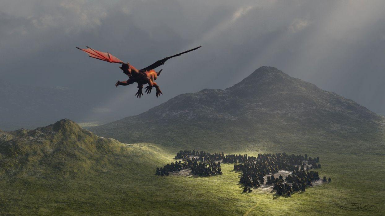 dragons fantasy art The Village wallpaper