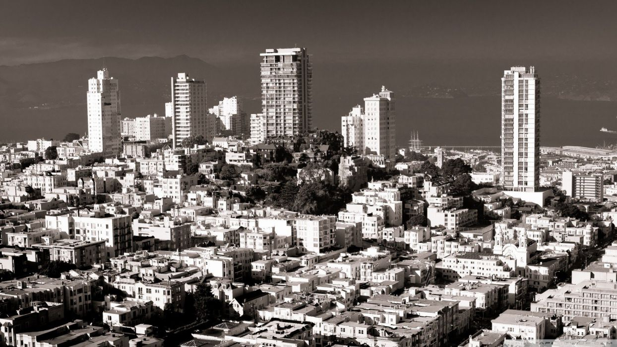 black and white cityscapes San Francisco wallpaper