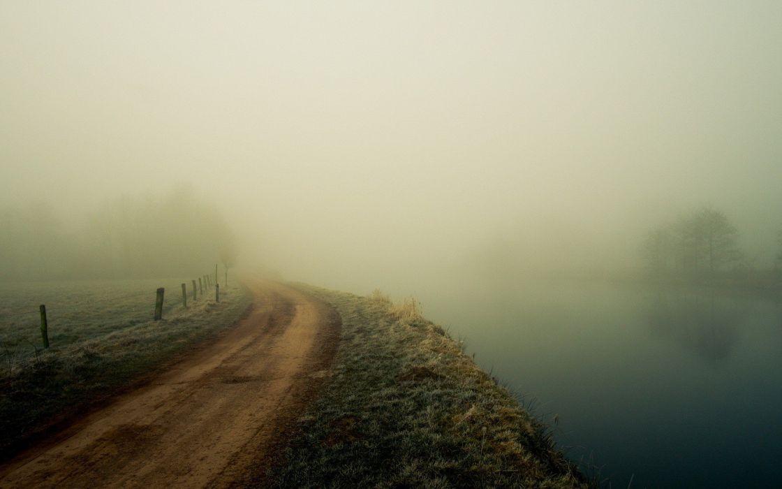 landscapes fog dirt roads wallpaper