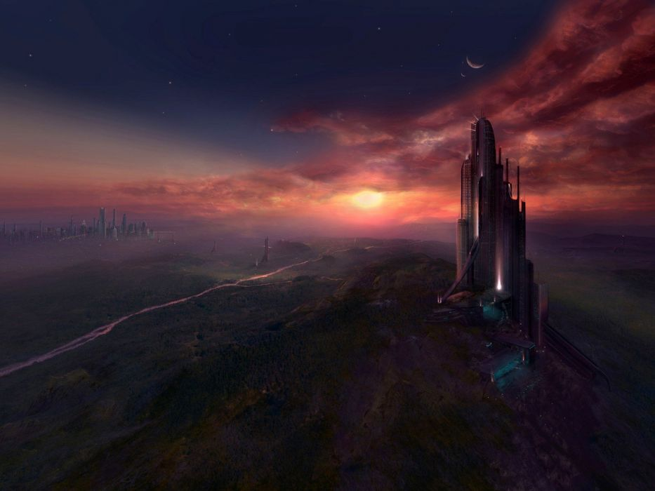 mountains clouds futuristic forests buildings digital art Tigaer Hecker rivers cities wallpaper