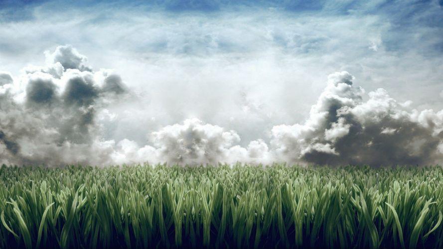 clouds landscapes nature grass wallpaper