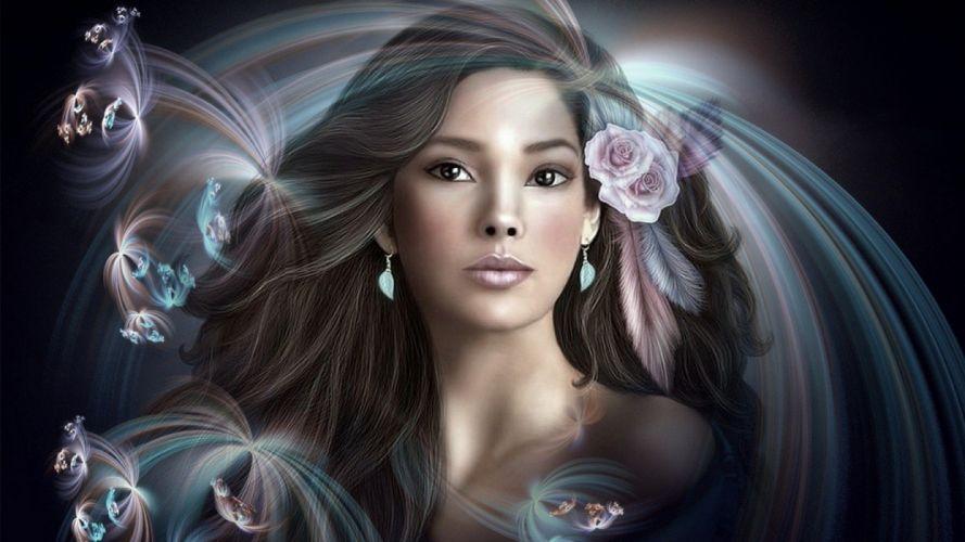 brunettes women paintings fantasy art artwork roses wallpaper