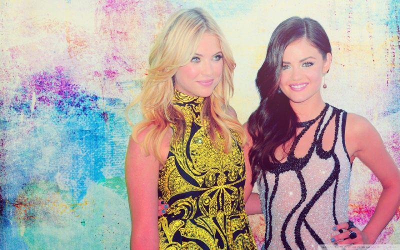 brunettes blondes women Lucy Hale Ashley Benson wallpaper