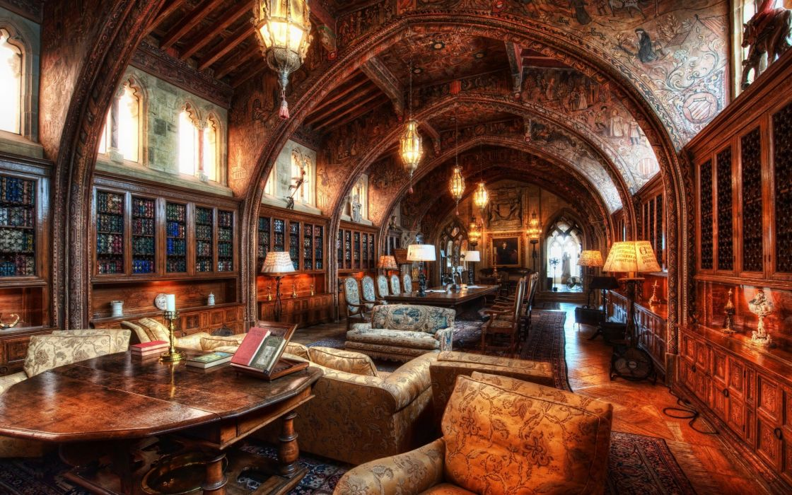library HDR photography wallpaper