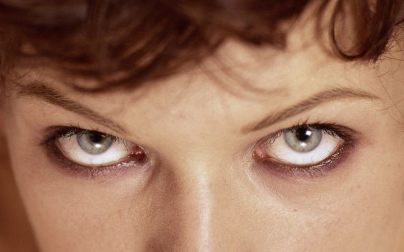 women close-up eyes actress models celebrity Milla Jovovich wallpaper