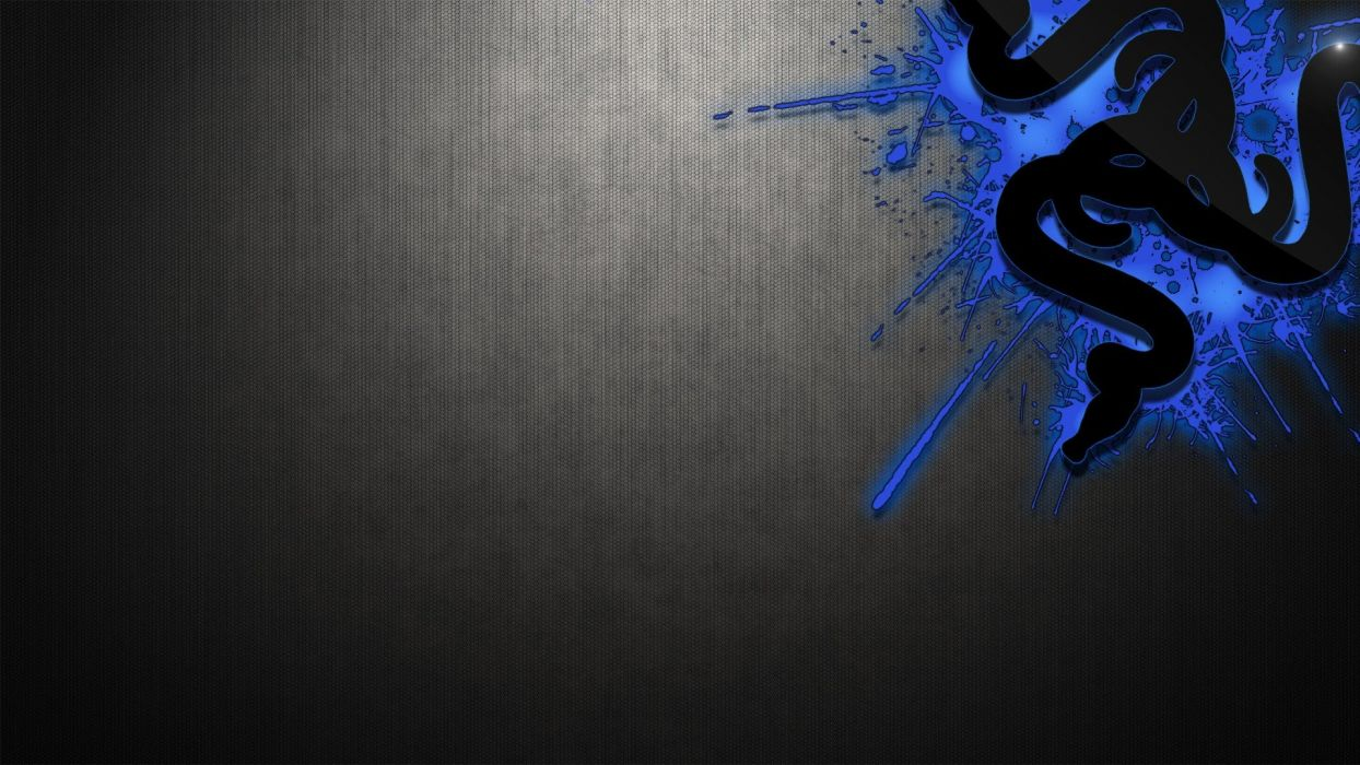 computers design Razer gamers digital art logos Razer logo black and blue wallpaper