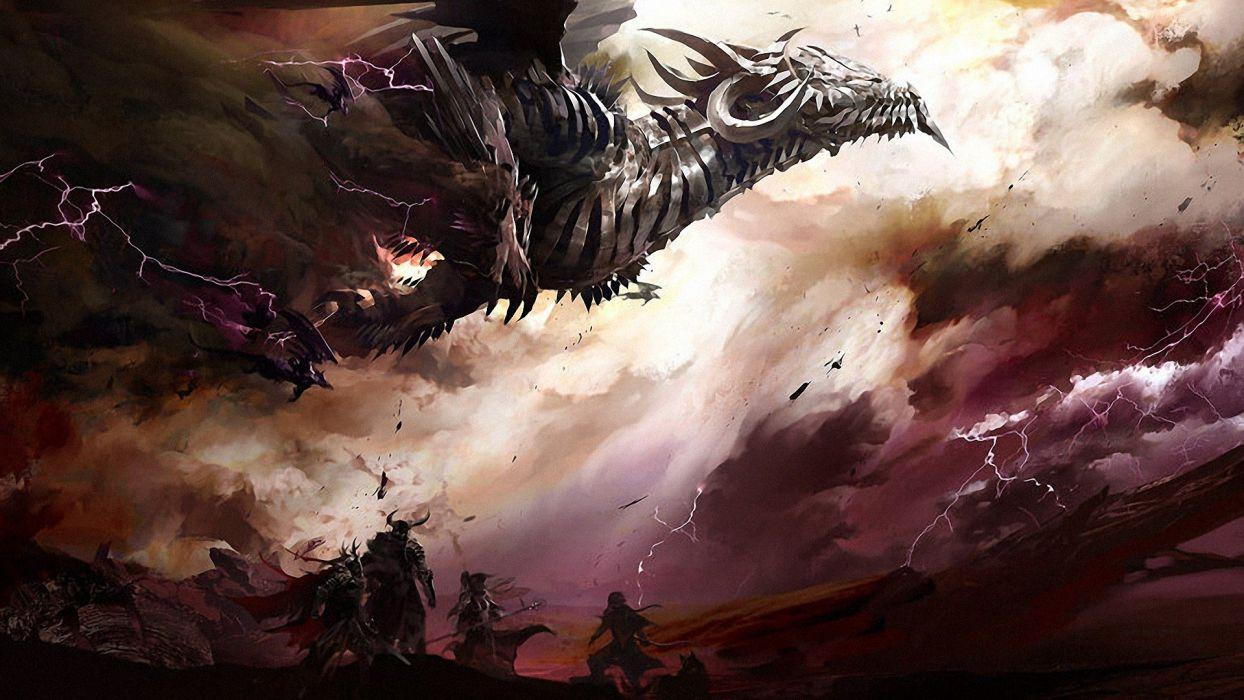 clouds dragons storm fantasy art digital art warriors Guild Wars 2 lightning skies wallpaper