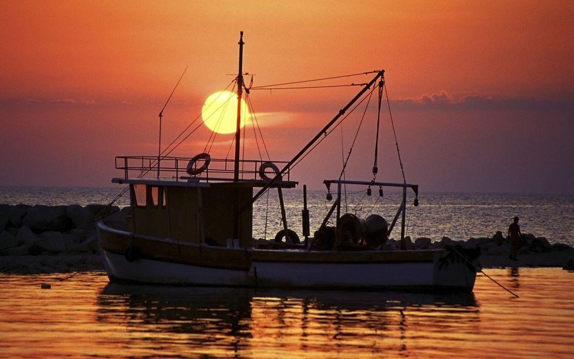 sunset ocean landscapes nature coast Sun land sea wallpaper