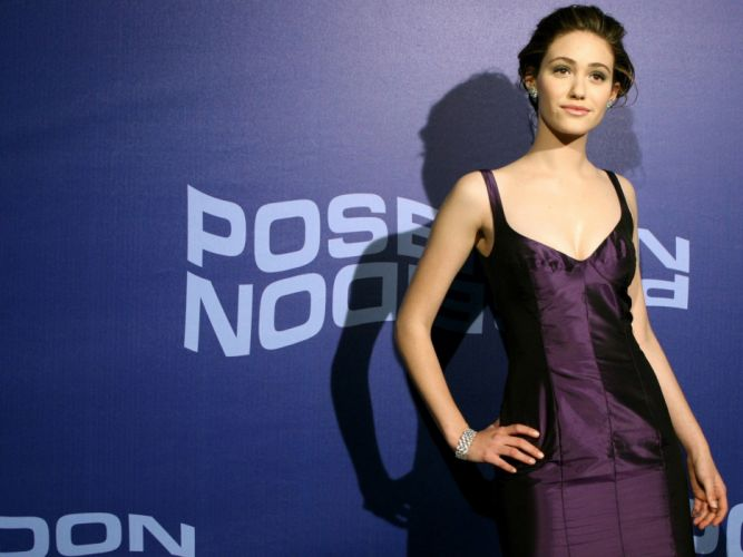 brunettes women dress actress celebrity Emmy Rossum purple dress blue background hands on hips wallpaper