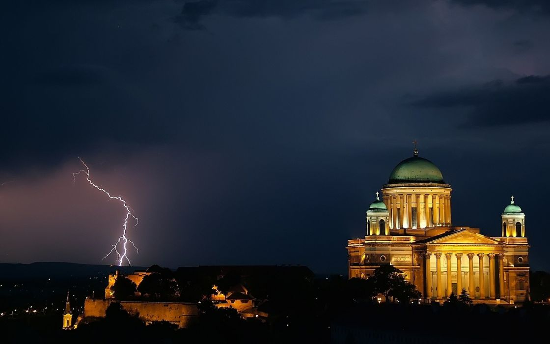 blue nature Hungary overcast cathedrals HDR photography lightning Esztergom Basilica wallpaper
