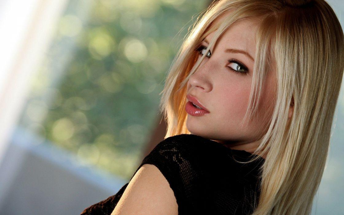blondes women close-up pornstars faces Alyssa Branch wallpaper