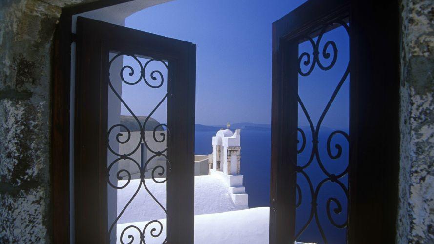 window Santorini Greece wallpaper