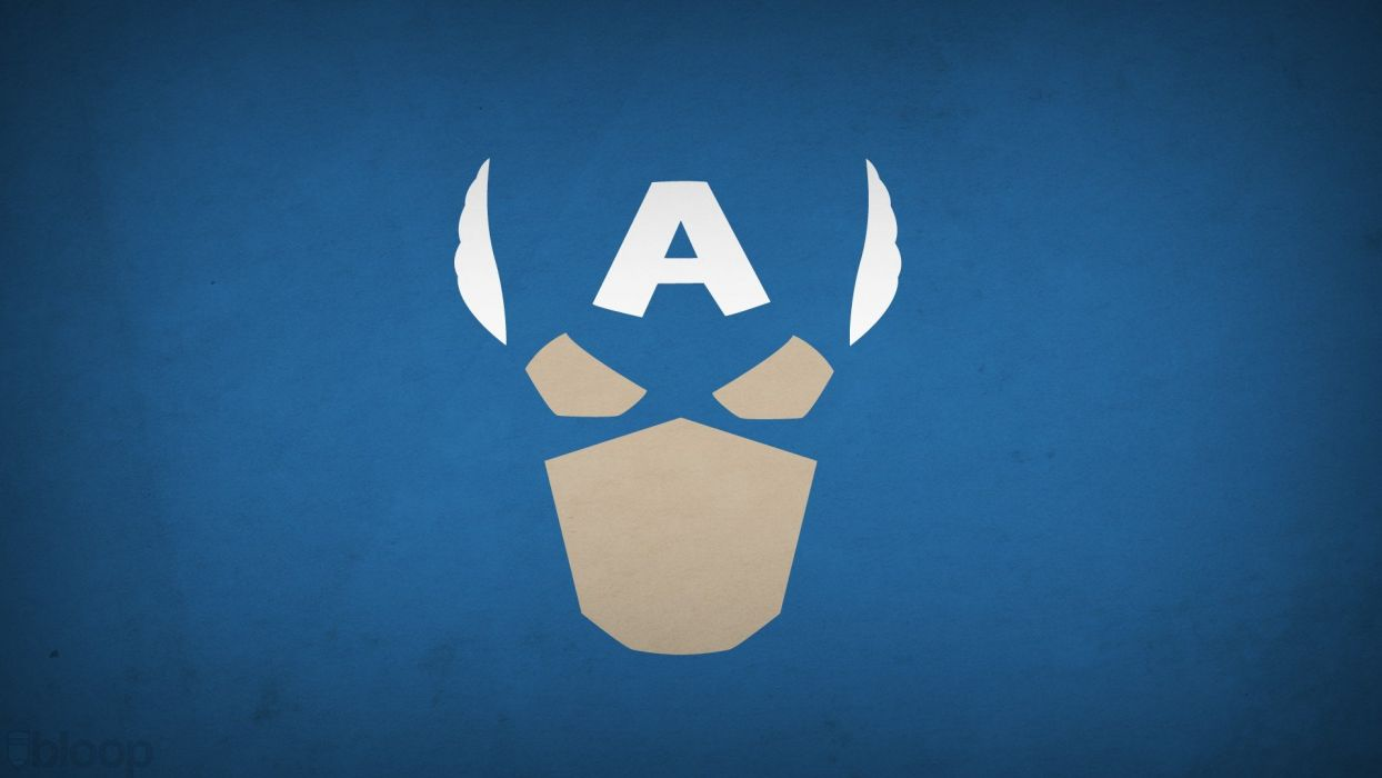 minimalistic Captain America superheroes Marvel Comics blue background blo0p wallpaper