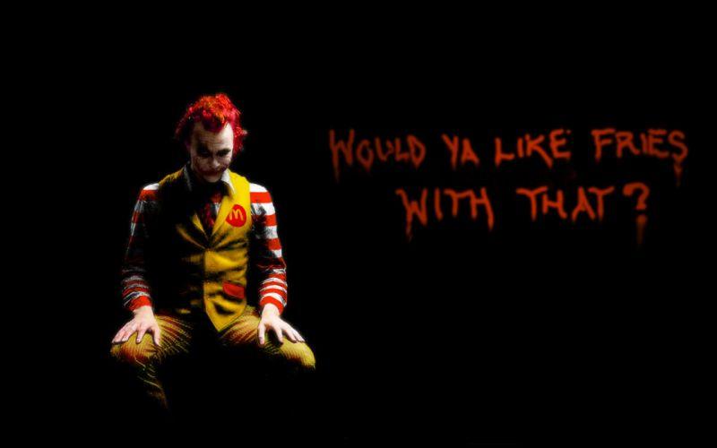 The Joker Ronald McDonald black background wallpaper