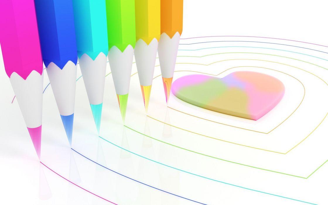 CGI rainbows hearts chromatic pencils colors K3 Studio wallpaper