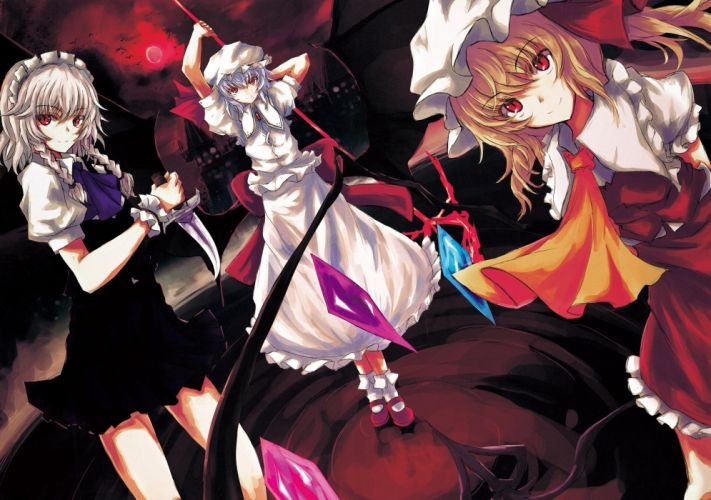 blondes video games Touhou wings castles dress birds maids Moon weapons socks Izayoi Sakuya blue hair shoes vampires red eyes short hair smiling knives Flandre Scarlet maid costumes hats Remilia Scarlet anime girls side ponytail silver hair wallpaper
