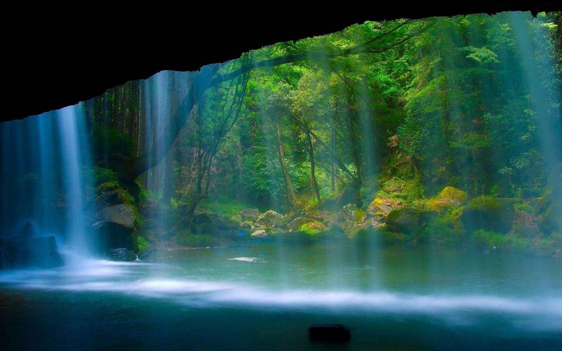 water nature forests waterfalls wallpaper