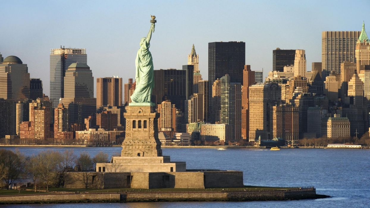 skylines New York City Statue of Liberty Manhattan wallpaper
