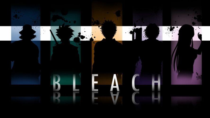 Bleach Kurosaki Ichigo silhouettes Urahara Kisuke Inoue Orihime Hitsugaya Toshiro Yasutora Sado wallpaper