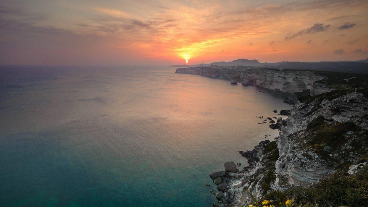 sunset ocean landscapes nature coast Sun skyscapes sea wallpaper