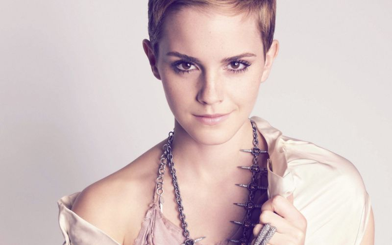 women Emma Watson actress brown eyes short hair smiling jewellery wallpaper