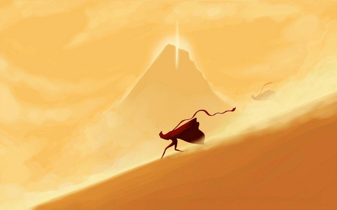 Video Games Minimalistic Sand Deserts Journey Artwork Running Game Wallpaper