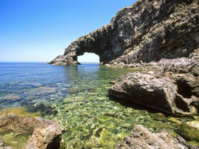 rocks Sicily arches sea beaches wallpaper