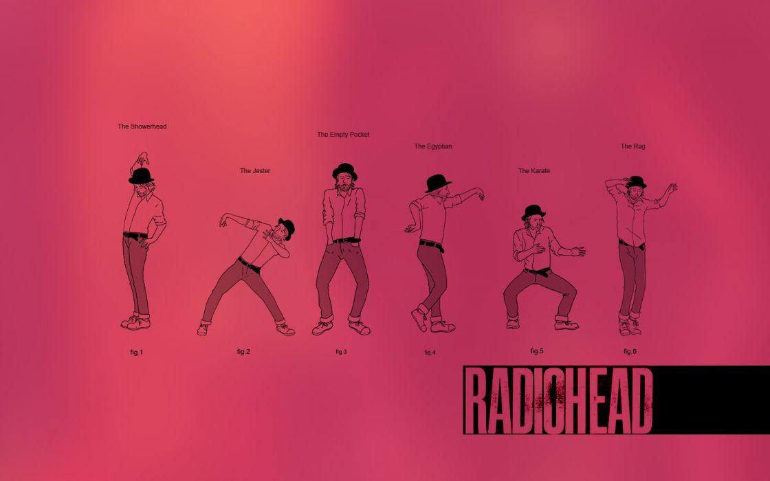 funny Radiohead drawings dancing diagram pink background wallpaper