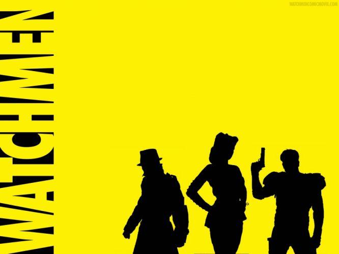 Watchmen yellow Rorschach silhouettes The Comedian Sally Jupiter wallpaper