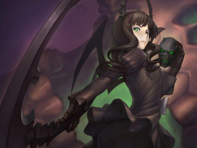 women wings Black Rock Shooter scythe Dead Master horns weapons wallpaper