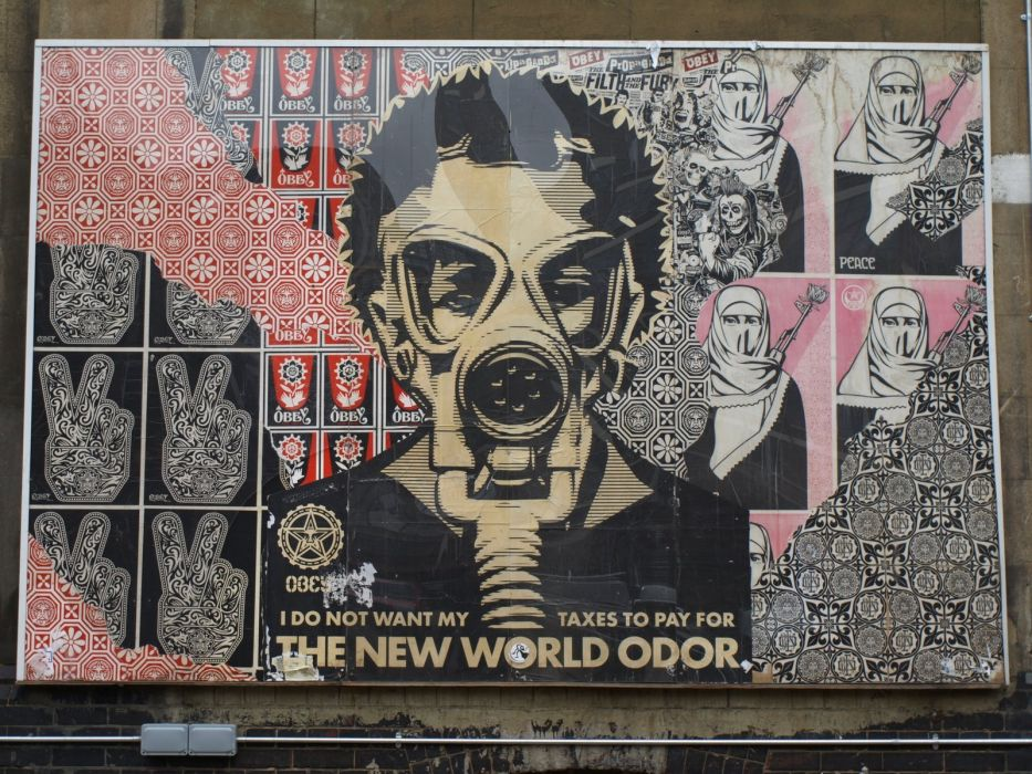gas masks artwork Shepard Fairey wallpaper
