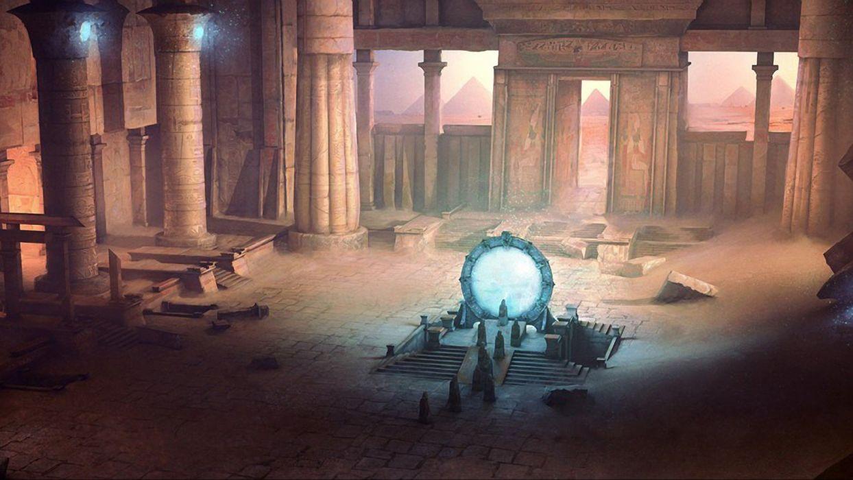 fantasy landscapes rocks Stargate fantasy art Stargate SG-1 science fiction temples wallpaper