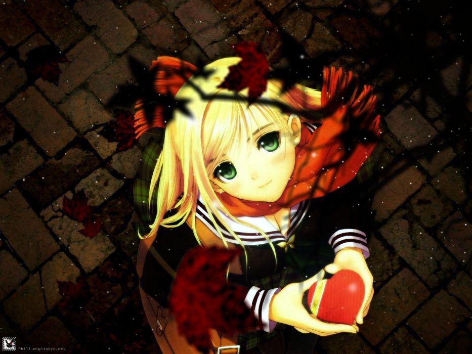 blondes Tony Taka moe (anime concept) apples anime girls wallpaper