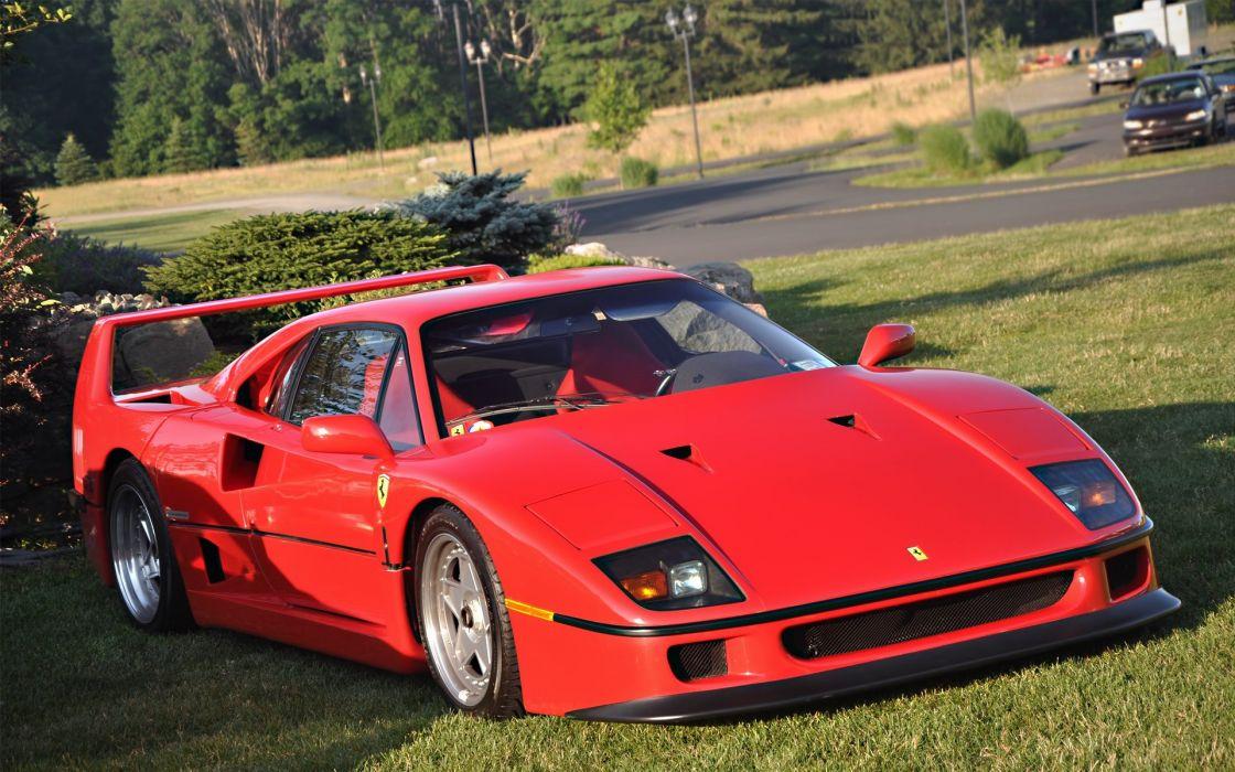 cars grass supercars Ferrari F40 wallpaper