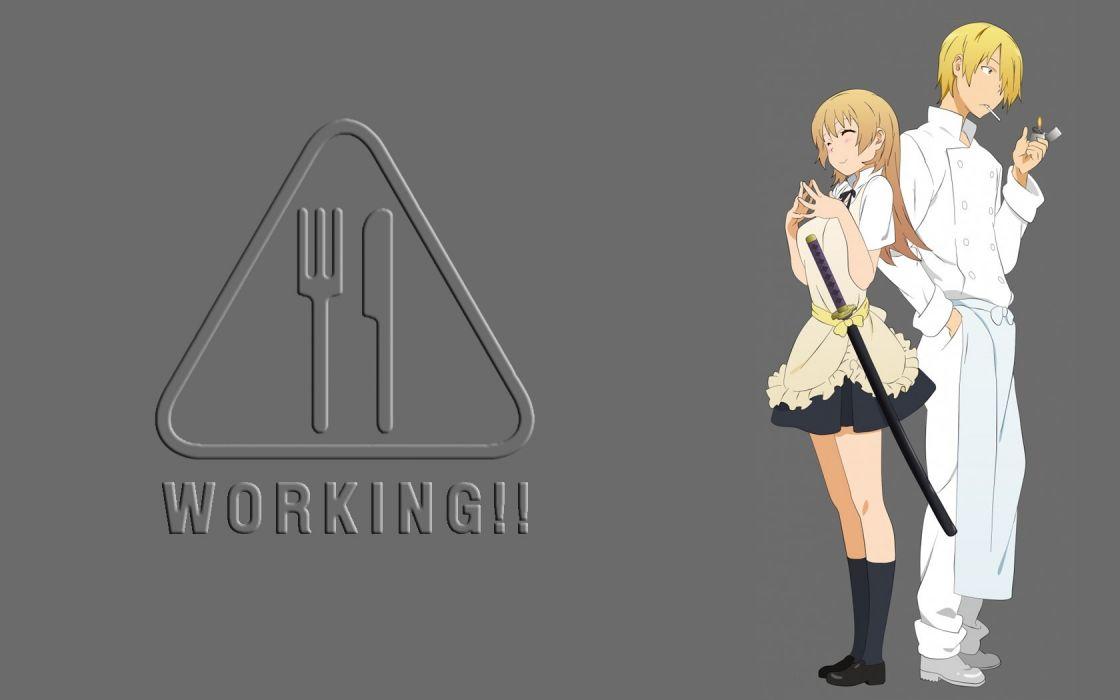 Working!! (Anime) Todoroki Yachiyo Satou Jun wallpaper