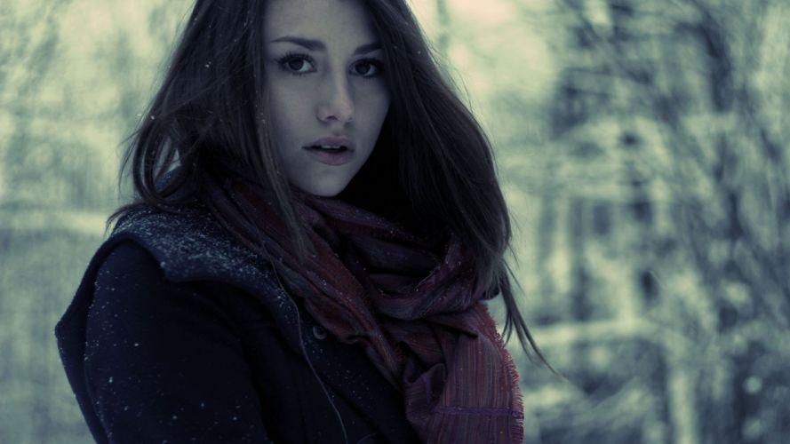 brunettes women scarfs Lena Sophia wallpaper