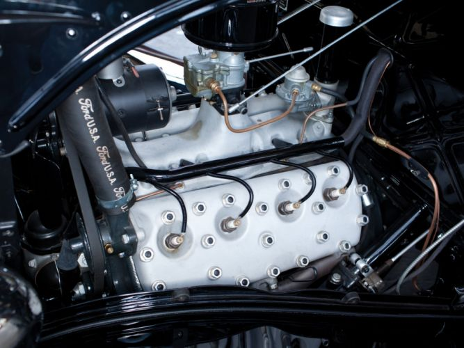 1934 Ford V-8 Deluxe 3-window Coupe (40-720) retro engine g wallpaper
