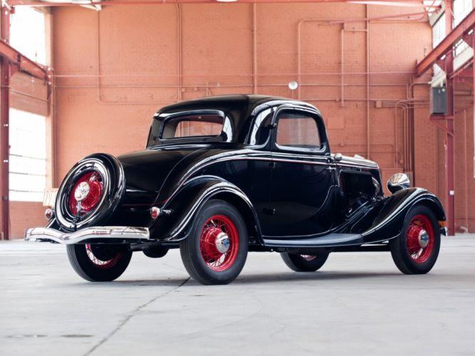 1934 Ford V-8 Deluxe 3-window Coupe (40-720) retro g wallpaper