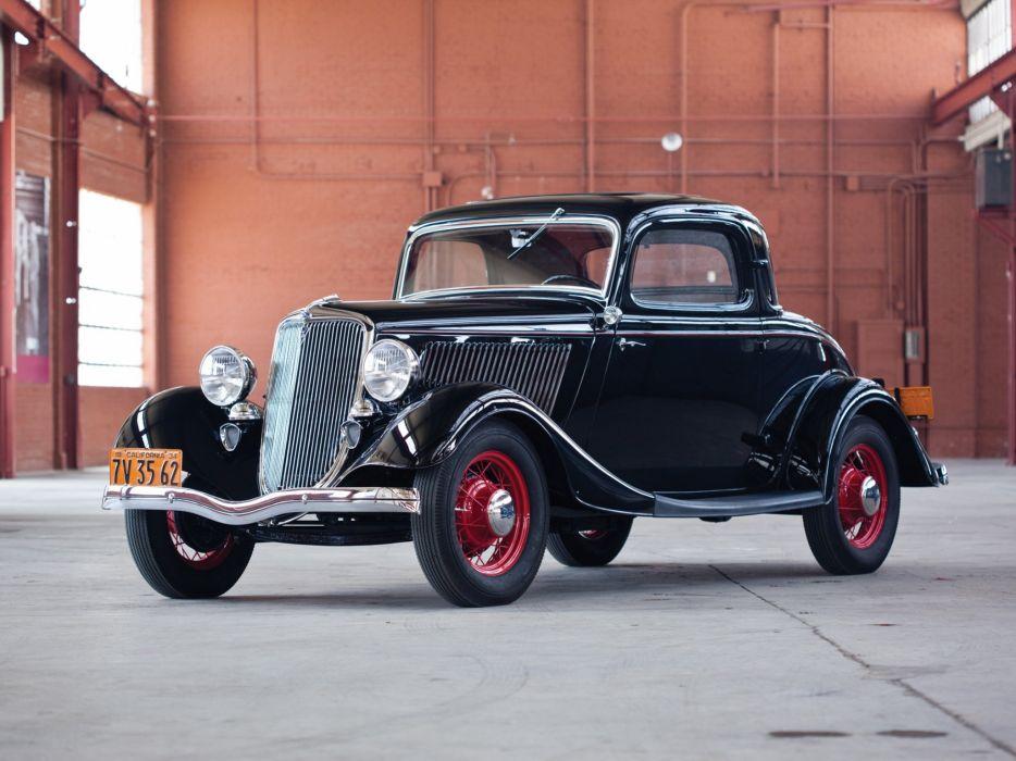 1934 Ford V-8 Deluxe 3-window Coupe (40-720) retro  h wallpaper